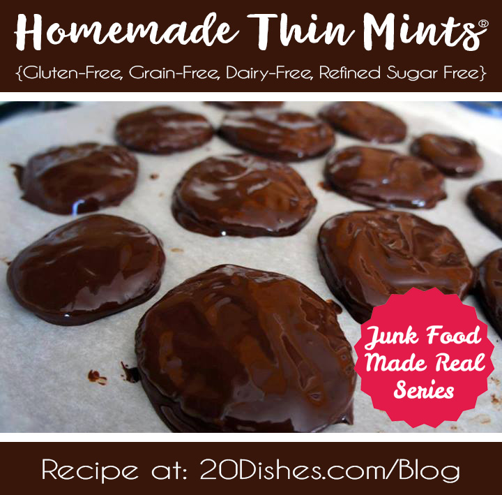 Junk Food Made Real: Homemade Thin Mints® {Gluten-Free, Grain-Free, Dairy-Free, Refined Sugar Free} // 20Dishes.com
